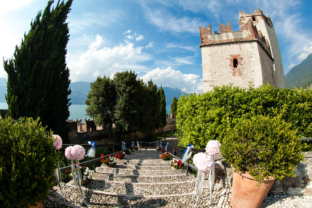 romanticweddingsonlakegarda malcesine castle steps
